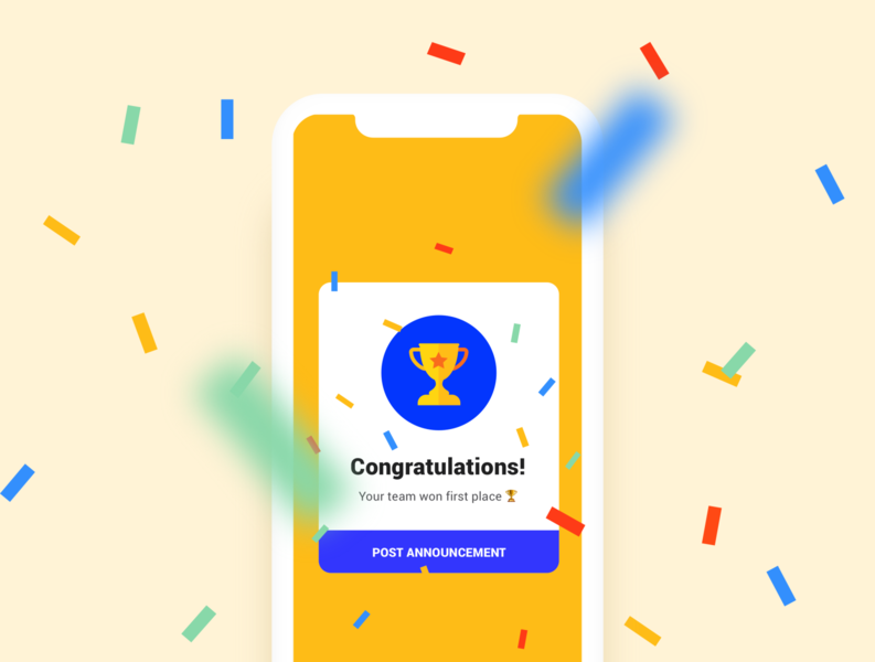 Congrats screen mobile design flat ux ui design app