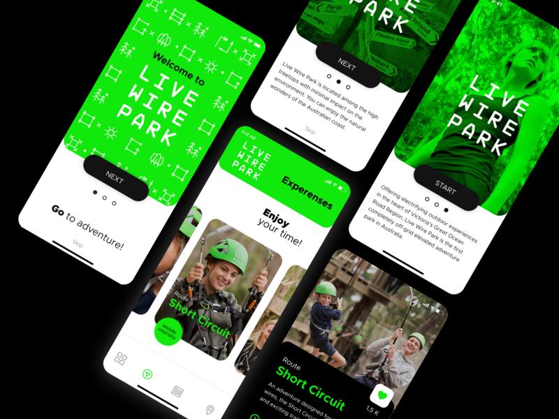 Lifewirepark adventure park product design ux ui design mobile app design mobile app