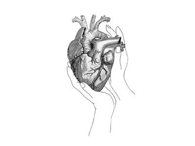 Heartful heart anatomical monochrome line art line work illustration