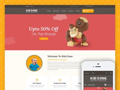 Kid Zone Online StoreTemplate codezeel ecommerce themes book jewelry toys kid prestashop