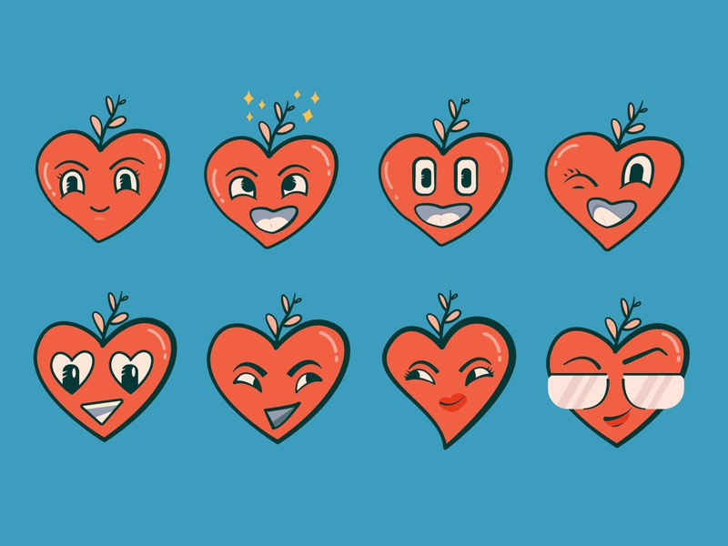 Expressions Icon sticker cute illustration red expressions funny love heart cute icon vector flat illustration design