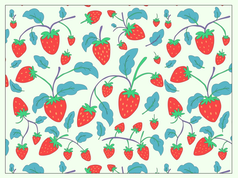 Strawberry Pattern flatdesign fabric seamlesspattern vector pattern branding art strawberries patterns pattern a day patterndesigner pattern art cute strawberry pattern design pattern vector illustration