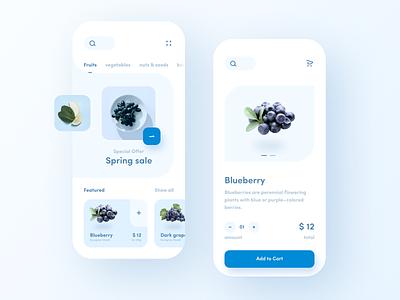 Shopping App minimal clean corona blue blueberry product menu bar offer product card sketch figma photoshop design 2020 ux ui mobile app