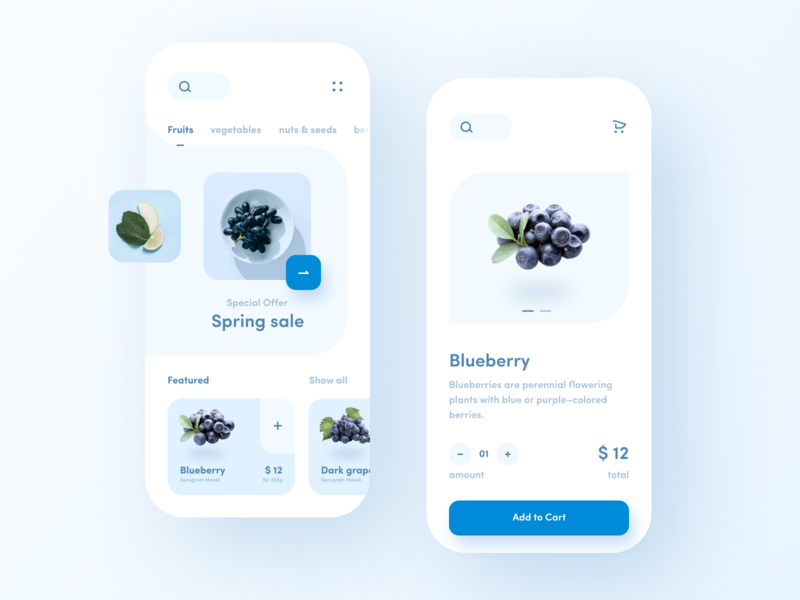 Shopping App minimal clean corona blue blueberry product menu bar offer product card sketch figma photoshop design 2020 ux ui mobile app