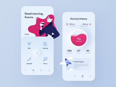 Activity App fitness sports sport fitness app girl illustration activity tracker mobile application calories clean design kcal activity ux ui procreate mobile app mobile app design illustraion