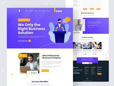 Business Solution Landing Page interface design template landing page design uiux website business