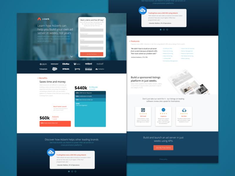 Adzerk conversion design software graphic design demo cro landing page layout ux design ui. web design