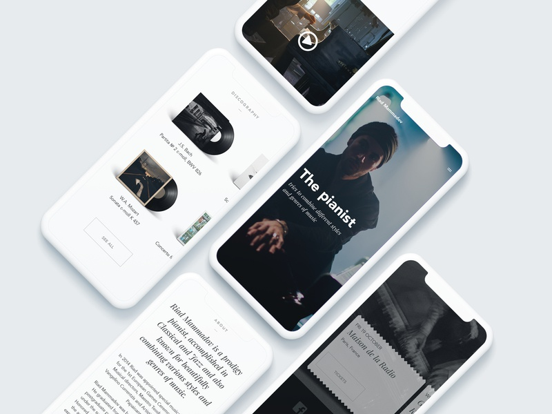 Main page ui mobile clean web design big background images minimalistic