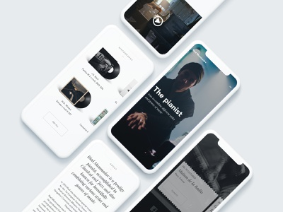 Main page ui mobile clean web design big background images minimalistic