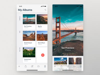 Photo Album Ui — Adobe XD Daily Challenge Day 3 adobe xd xddailychallenge animation app interaction daily inspire ui clean minimalistic