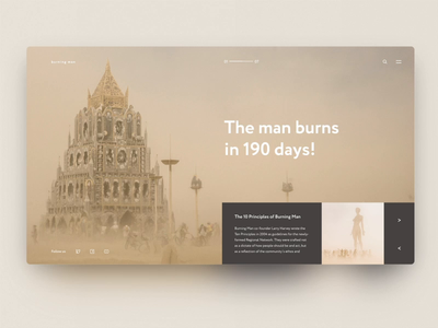 Burning Man — Daily Inspiration 29 ui grid design carousel grid grid layout adobe xd design animation ui interaction interaction web daily inspire big background images clean minimalistic
