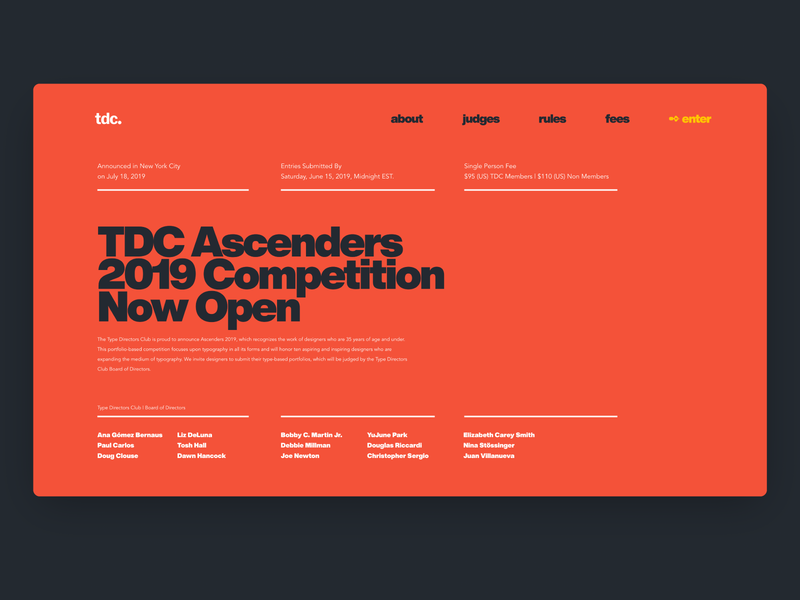 Typography focused competition — Daily Inspiration tdc helvetica typografi design grid layout adobe xd grid uiconcept clean minimalistic minimaldesign typography swisstypography ui daily inspire