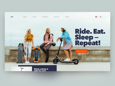 micro-mobility — daily Inspiration 36 electric longboard scooter e-shop ui grid layout e-comerce figma big background images grid web daily inspire clean minimalistic