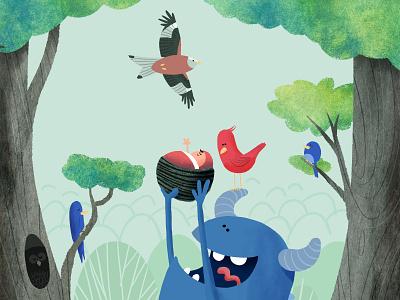 Bird card illustration birth announcement monster baby birds