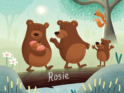Rosie birth card log tree bear baby birth announcement