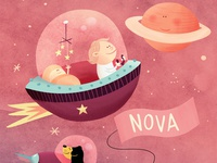 Nova 🪐 birth announcement astronaut planet moon dog spaceship stars baby