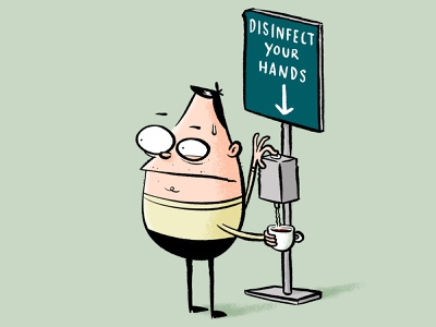 disinfect your hands office cartoon covid-19 corona disinfectant alcohol