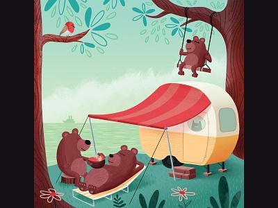 Susie camping bears caravan baby