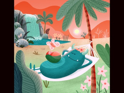 🏖Zoey waterfall character illustration baby monster birth announcement