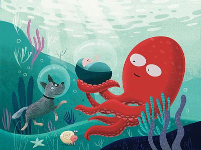 birth card for Marijn 🐙 underwater octopus dog illustration baby
