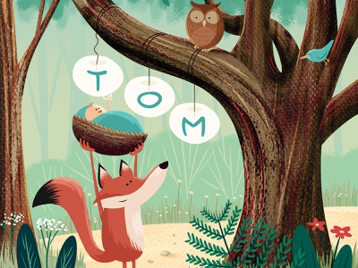 Tom woods owl fox birth announcement illustration baby