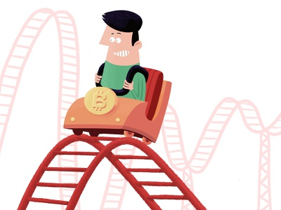 The Bitcoin Ride illustration newspaper character currency rollercoaster bitcoin