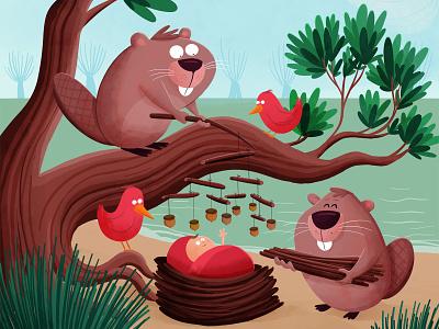 Ella Sofie illustration birth announcement beaver baby