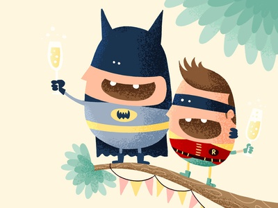 Batman and Robin say cheers!