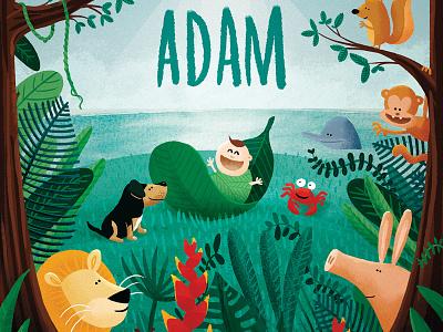 birth card for Adam anteater tropical cintiq photoshop crab dolphin lion jungle birthcard