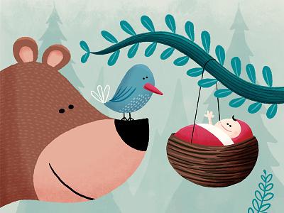 Isa tree bird birth announcement baby bear