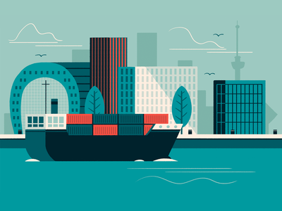 Rotterdam maas harbour rotterdam illustration