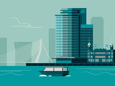 Rotterdam erasmusbrug maas hotel new york havenbedrijf rotterdam