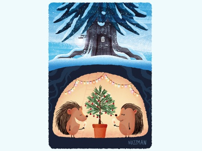 Christmas card snow winter christmastree christmas tree hedgehog