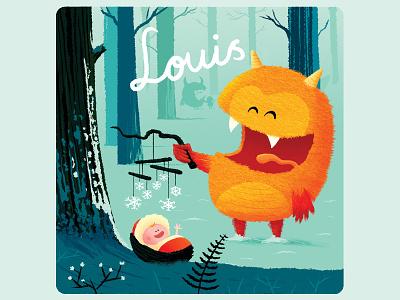 Louis baby monster birth announcement birth card birthcard