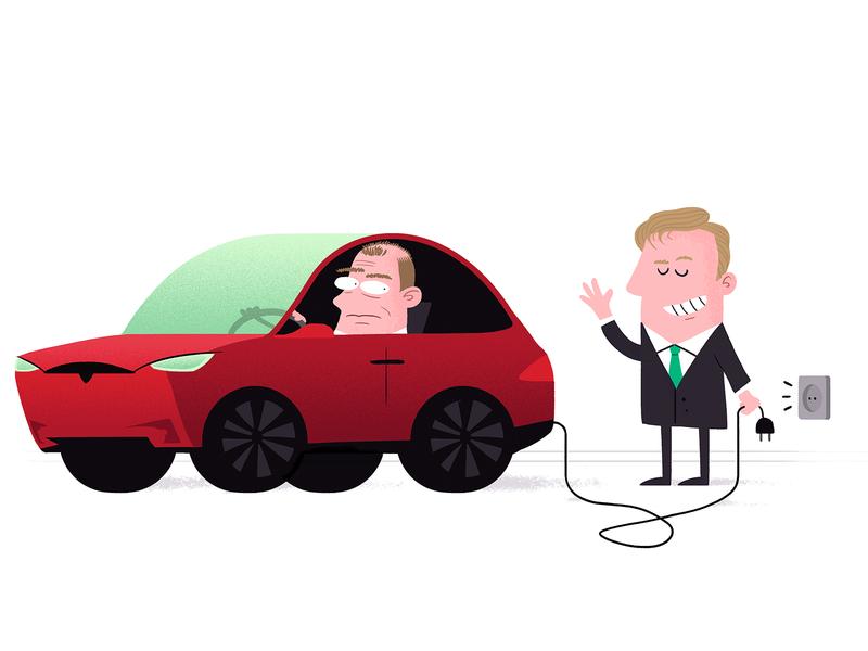 Tesla unplugged newspaper illustration tesla