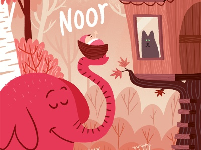 birth announcement card for Noor trees baby illustration birth announcement treehouse elephant