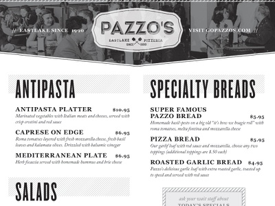 Pazzo's Look/Feel Test 1 typography robert gaszak menu