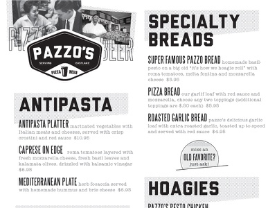 Pazzo's Look/Feel Test 2 robert gaszak menu typography