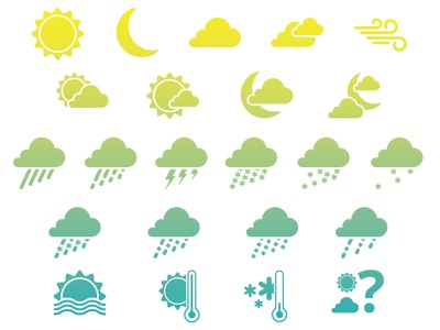 Weather Icons for voice activated software robert gaszak icons illustrator weather voice