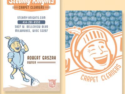 Steamy Knights Business Card business card design identity illustrator logo retro robert gaszak