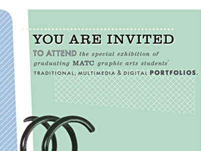 MATC Portfolio Nite Invitation illustrator invitation pattern retro robert gaszak typography