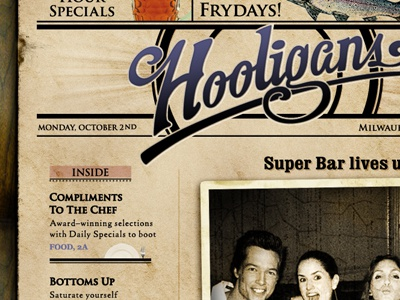 Hooligans Website design newspaper photoshop robert gaszak web site wood