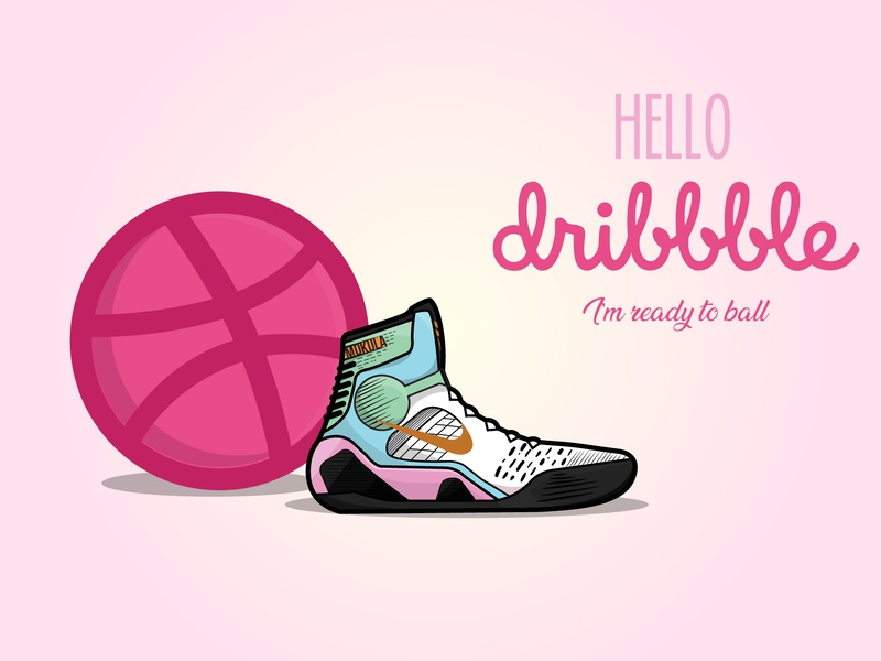 Hello Dribbblers! baskerville design illustration vector shoes shoelace shoe ninth nike air nike kobe bryant basket debut basketball