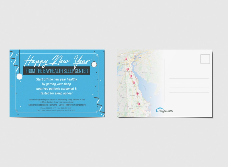 Happy New Year Postcard prints print design specialized sleep indesign new year healthcare postcard design branding illustration typogaphy photoshop