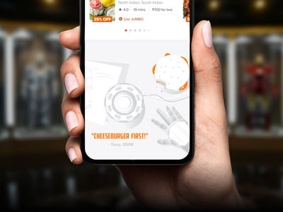 Swiggy In-app Easter Eggs #2 swiggy pun quirky food avengers tony stark ironman marvel fun delight vector app art