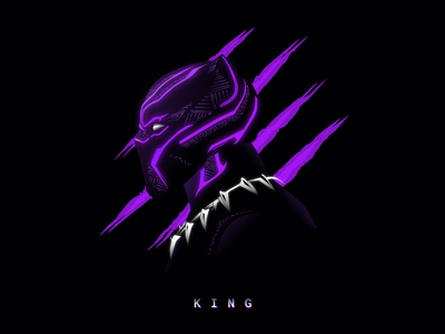 Black Panther - KING neon chadwick boseman black panther art design marvel illustration vector