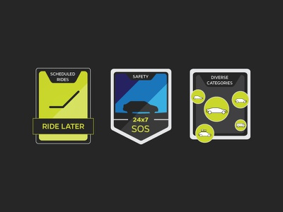 Ride Features Badge Explorations ride safety typography stamp badge corporate web ui taxi ola ocd