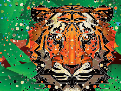 Poly Tiger forest orange green illustration vector circle tiger triangle poly