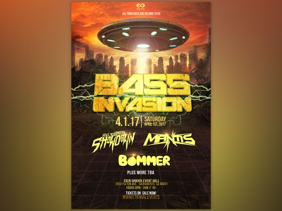 Bass Invasion - Concert Poster - Sacramento all your bass are belong to us 3d concert poster event poster event