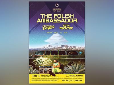 The Polish Ambassador - Concert Poster - Bend, OR minimal on tour graphic design mt shasta high desert oregon bend concert poster event poster the polish ambassador